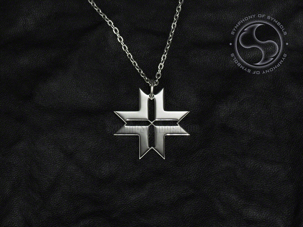 Stainless Steel Necklace with Latvian Auseklis Symbol