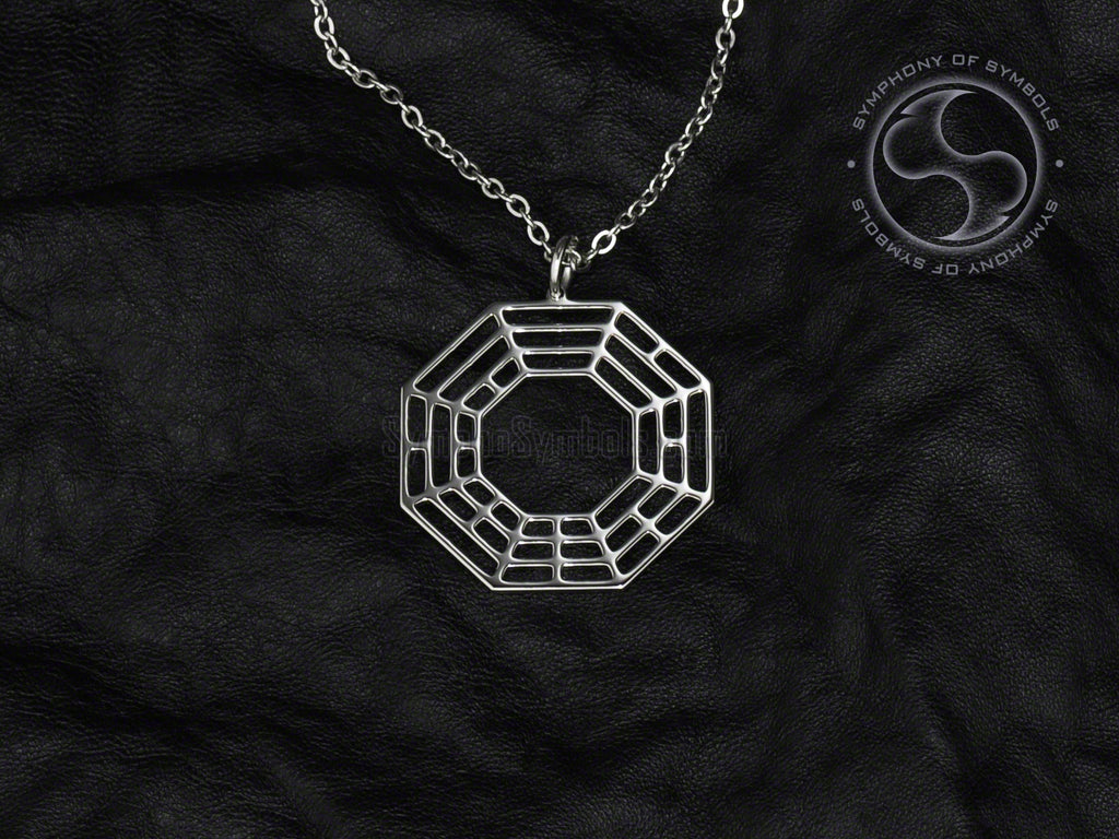 Early Heaven Bagua Symbol Necklace Stainless Steel Chinese Jewelry