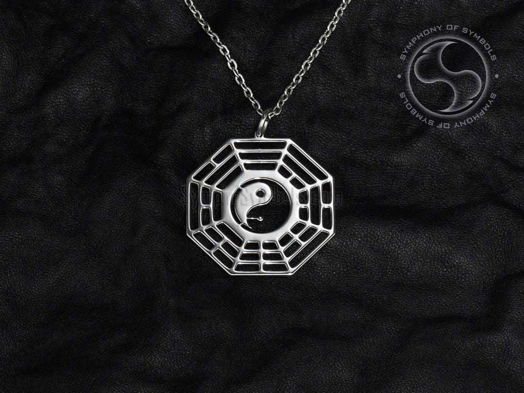 Stainless Steel Necklace with Early Heaven Bagua Symbol
