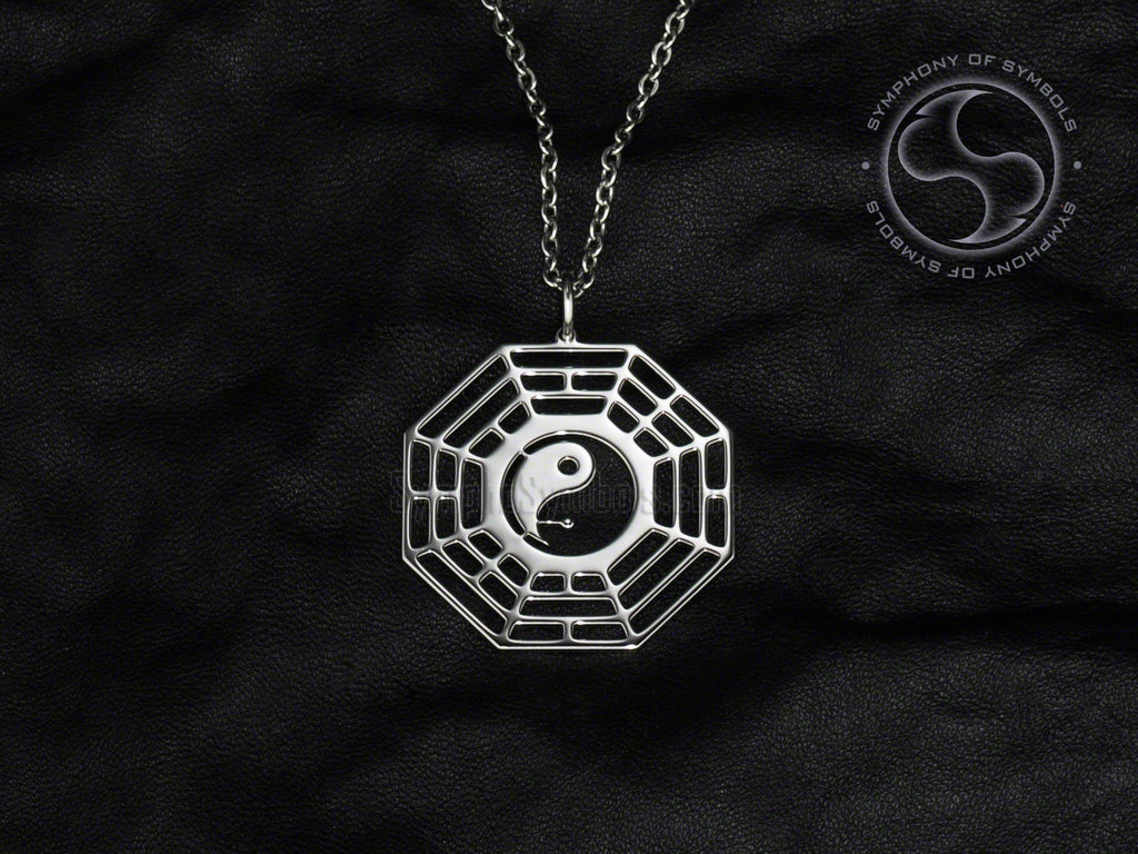 Stainless Steel Necklace with Later Heaven Bagua Symbol