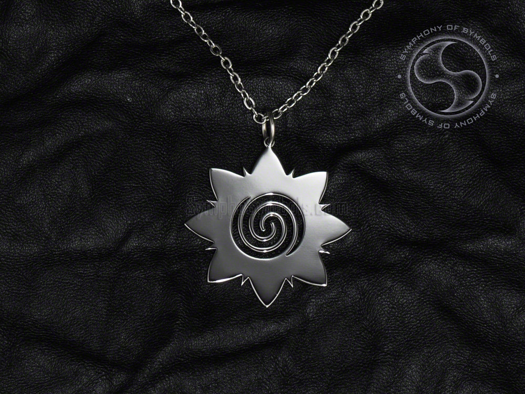 Stainless Steel Necklace with Tribal Borneo Rose Symbol