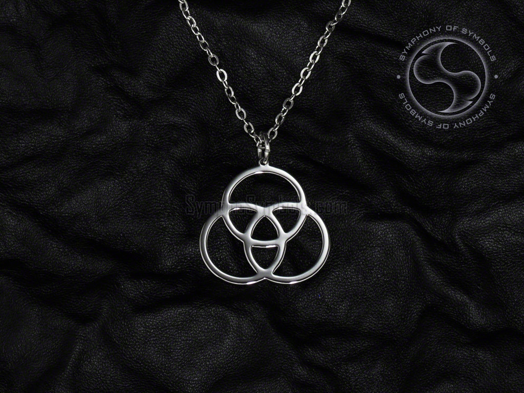 Stainless Steel Necklace with Mathematical Borromean Rings Symbol