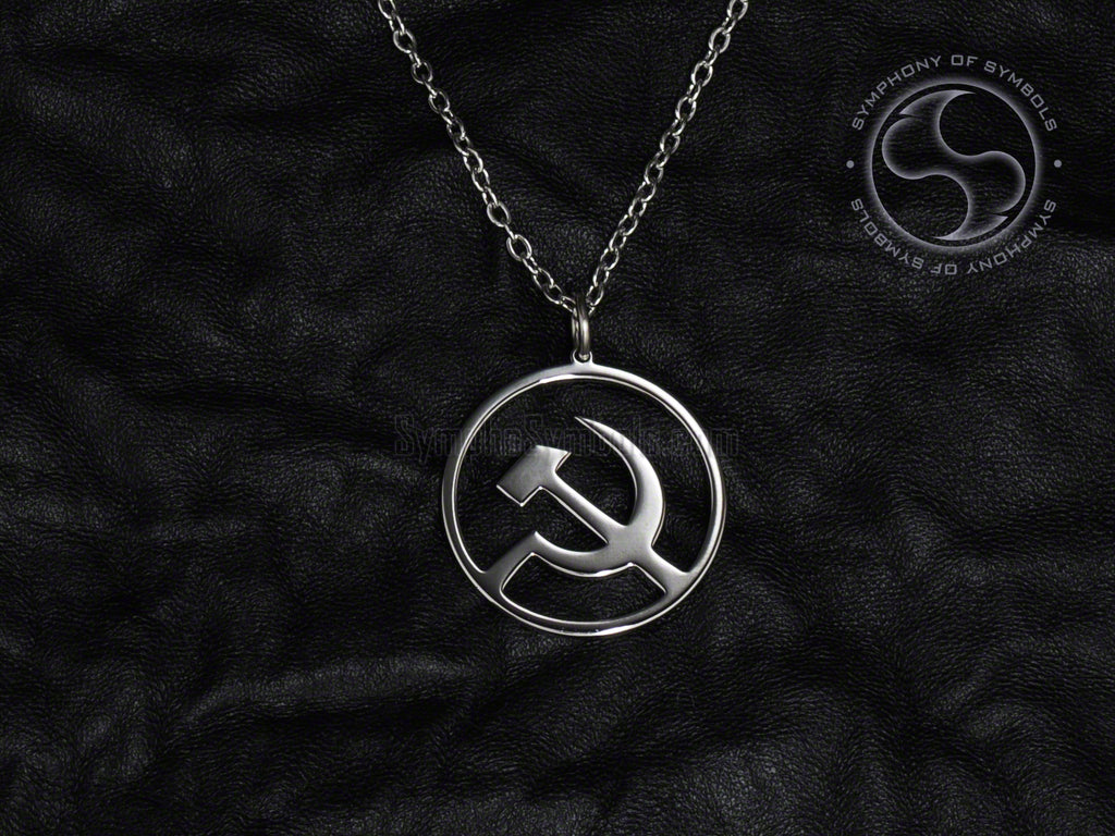 Stainless Steel Necklace with Communist Hammer and Sickle Symbol