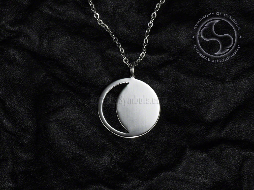 Stainless Steel Necklace with Moon Symbol