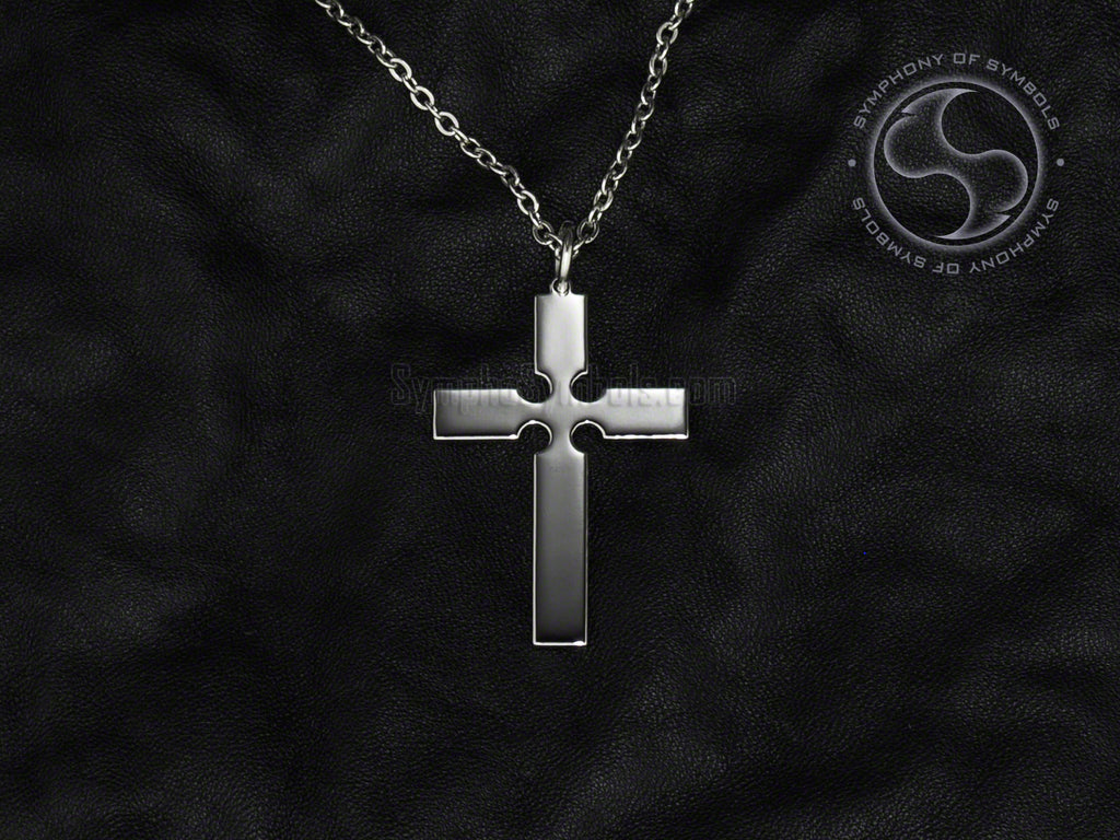 Stainless Steel Necklace with Christian Episcopal Cross Symbol