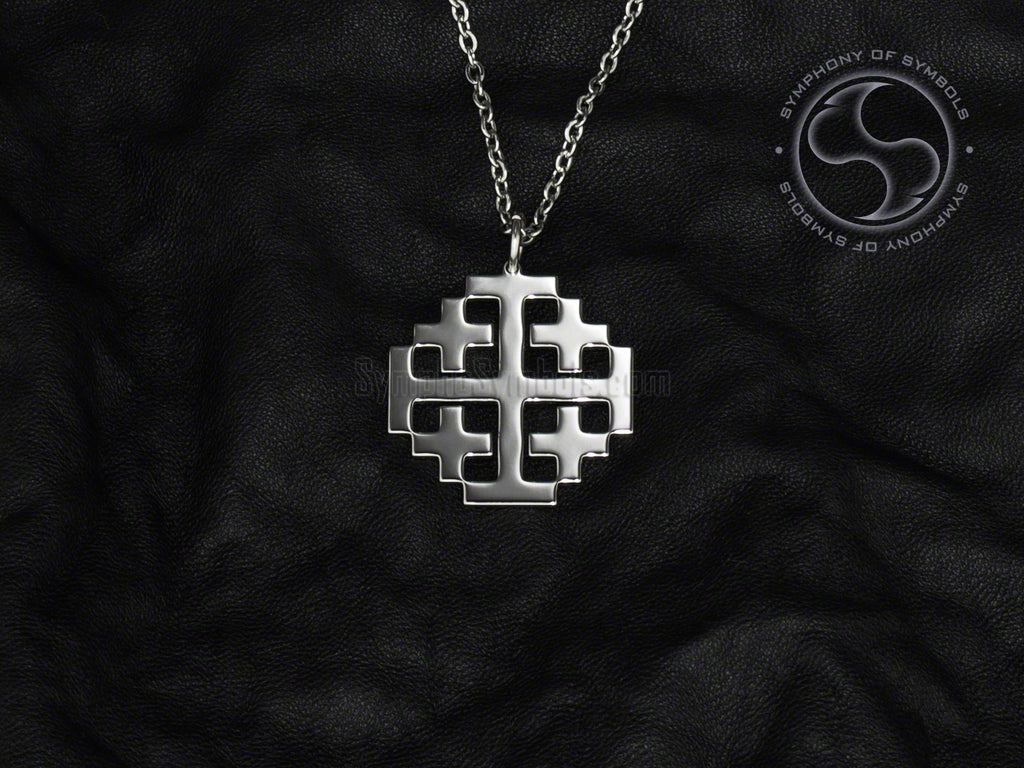 Stainless Steel Necklace with Christian Jerusalem Cross Symbol