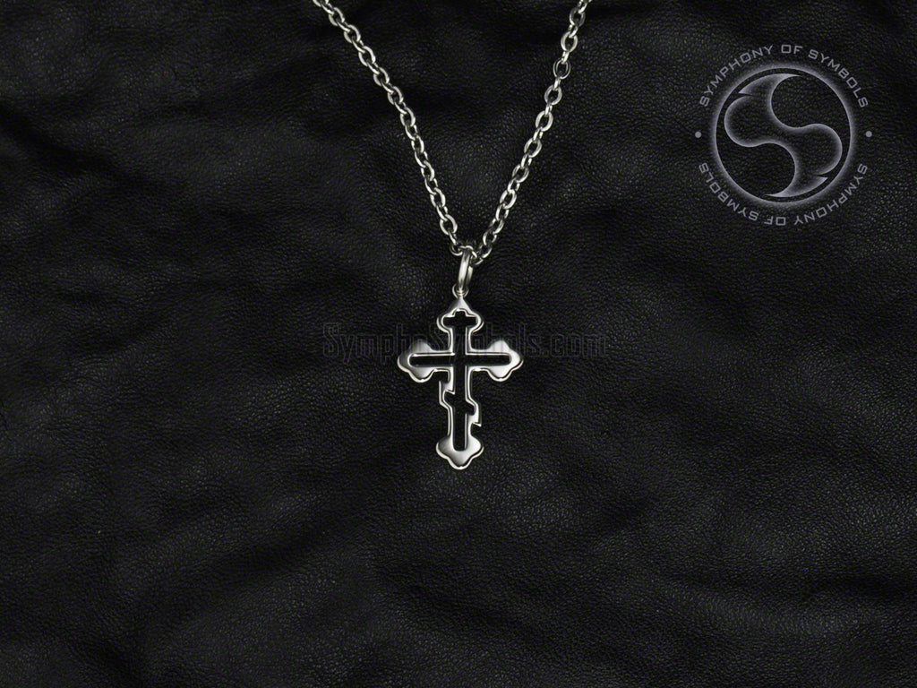 Orthodox Cross Symbol Necklace Stainless Steel Christian Jewelry