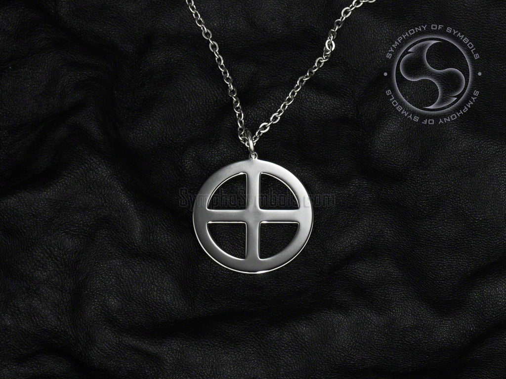 Stainless Steel Necklace with Pagan Sun Cross Symbol