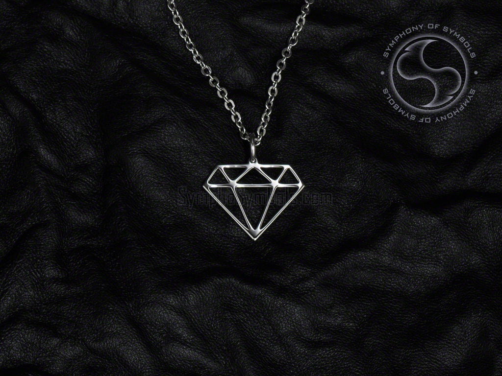 Stainless Steel Necklace with Geometric Diamond Symbol