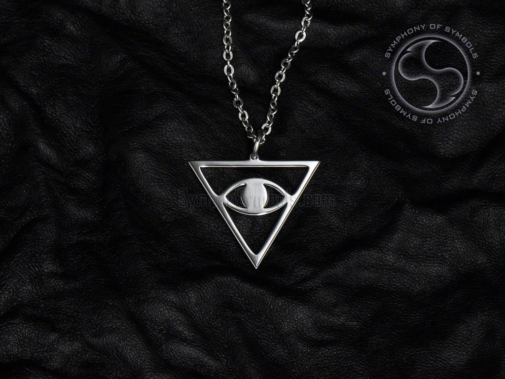 Stainless Steel Necklace with Inverted Eye in Triangle Symbol