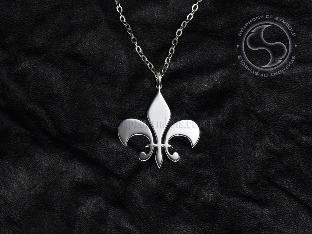 Stainless Steel Necklace with Fleur de Lis Symbol