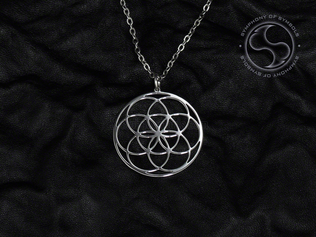 Stainless Steel Necklace with Sacred Seed of Life Symbol