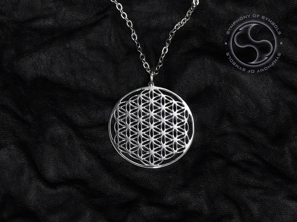 Stainless Steel Necklace with Sacred Flower of Life Symbol