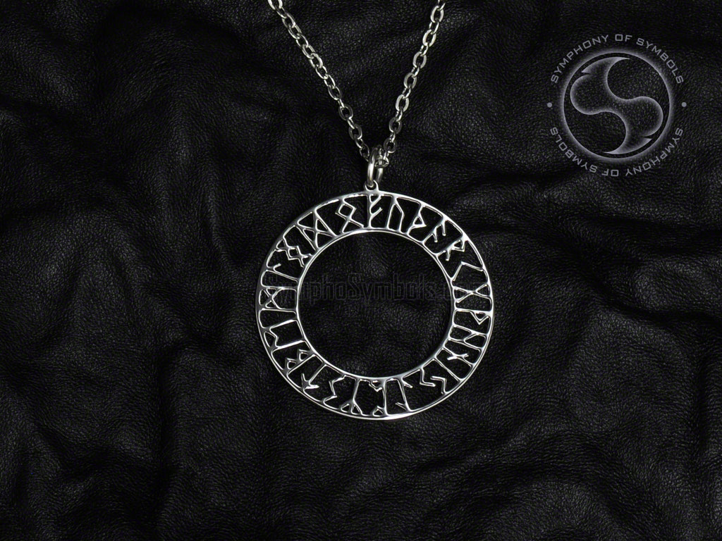 Stainless Steel Necklace with Elder Futhark Runic Circle Symbol