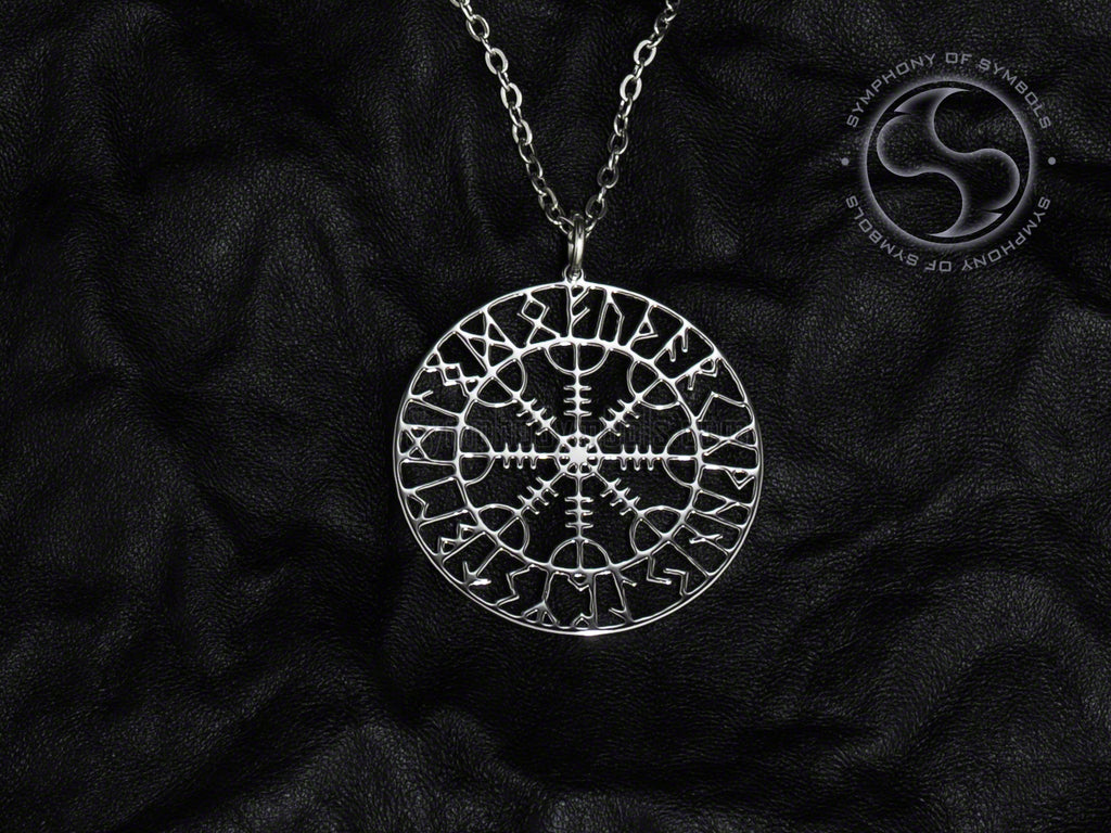 Stainless Steel Necklace with Aegishjalmur Symbol with Rune Circle