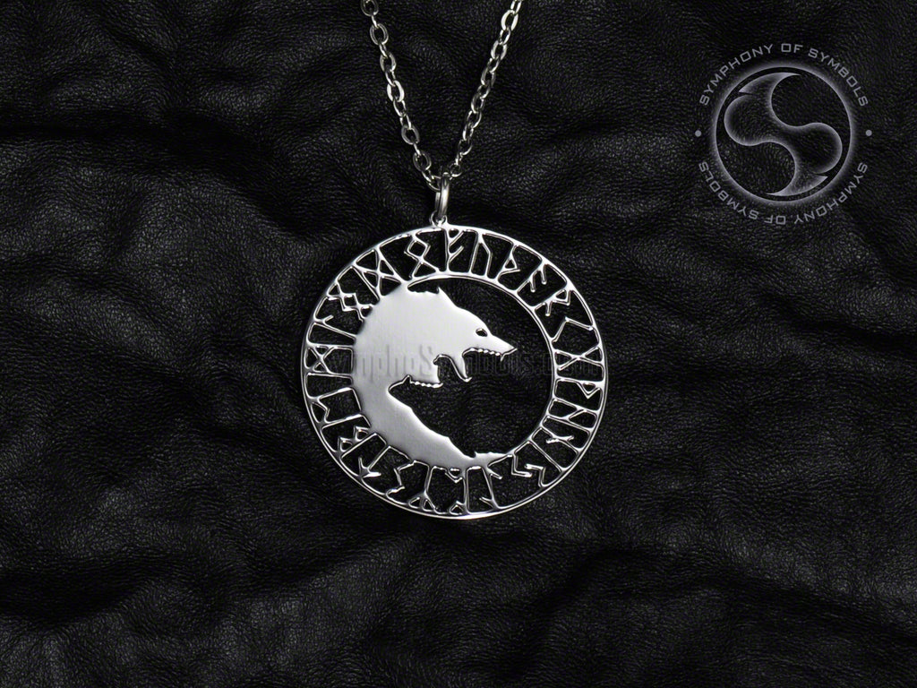 Stainless Steel Necklace with Viking Ulfhednar Symbol