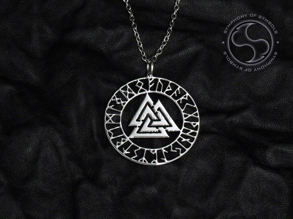 Valknut Symbol Necklace Stainless Steel Viking Jewelry