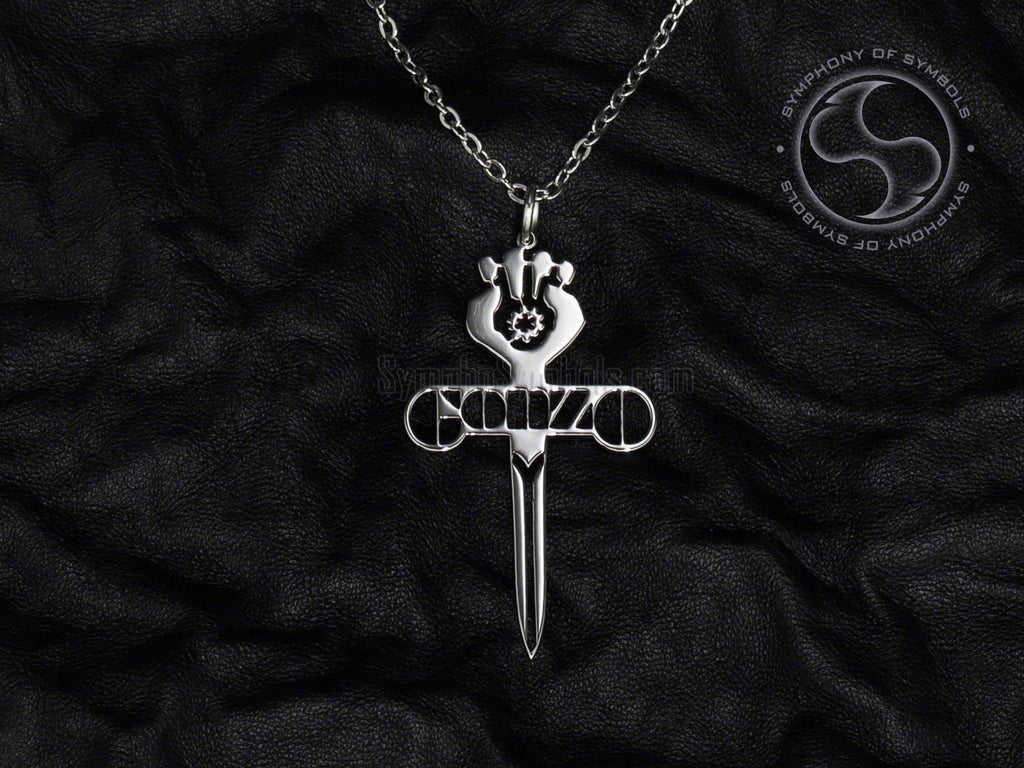 Stainless Steel Necklace with Gonzo Symbol