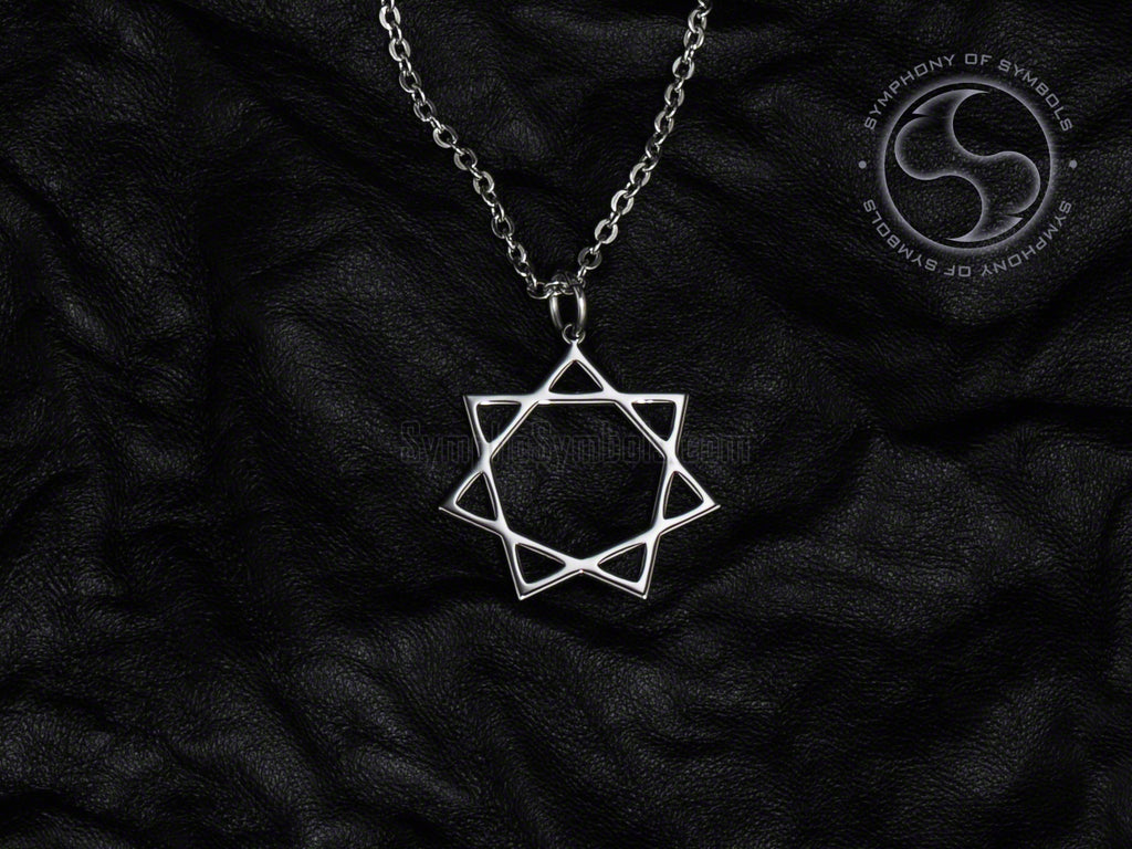 Stainless Steel Necklace with Esoteric Heptagram Symbol