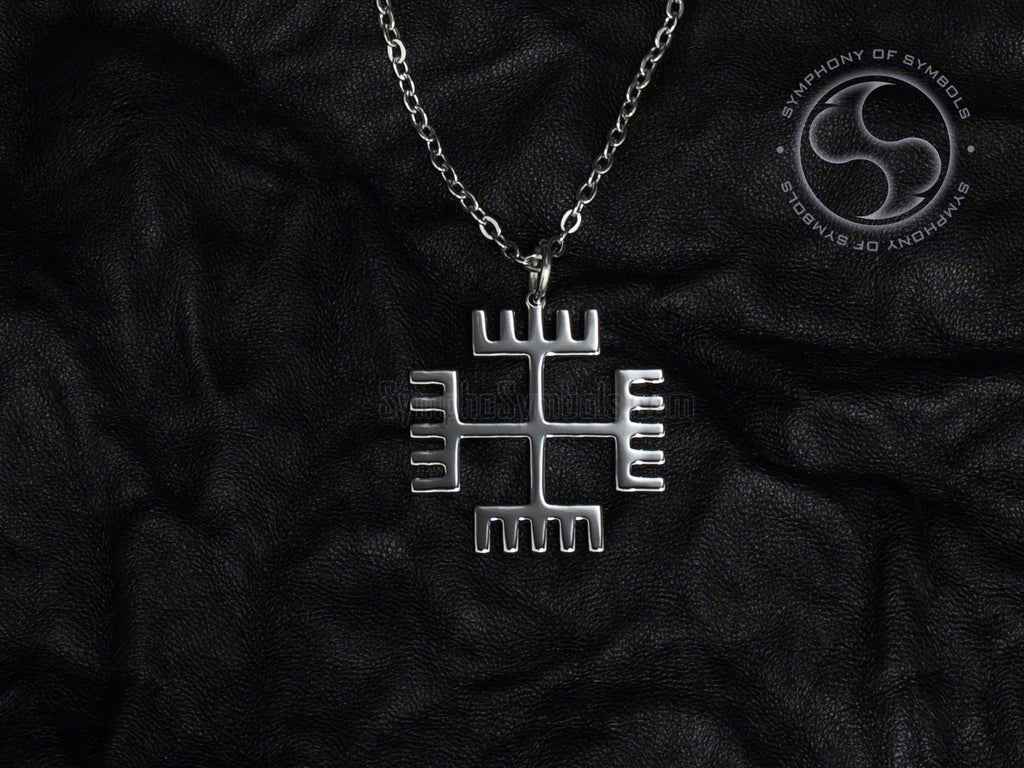 Stainless Steel Necklace with Pagan Hands of God Symbol