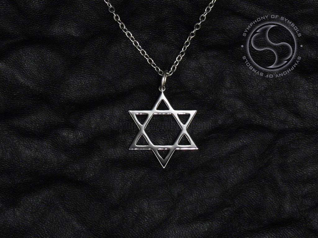 Stainless Steel Necklace with Hexagram Symbol