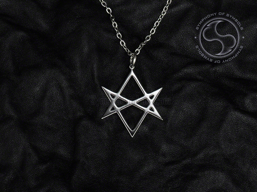 Stainless Steel Necklace with Esoteric Unicursal Hexagram Symbol