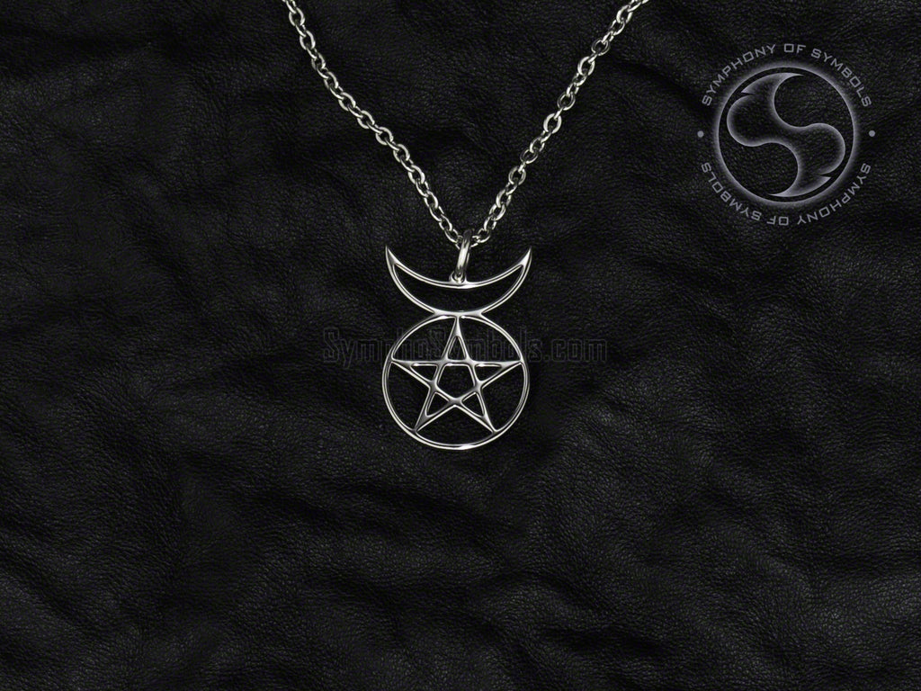 Horned God Symbol Necklace Stainless Steel Wiccan Jewelry
