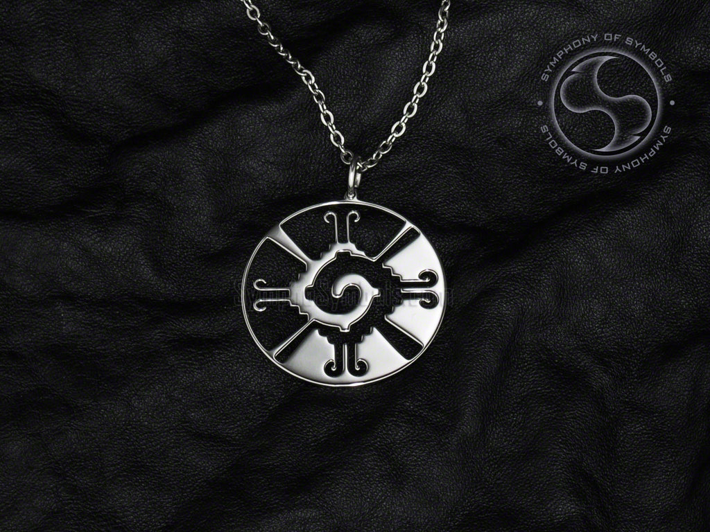Stainless Steel Necklace with Mayan Hunab Ku Symbol