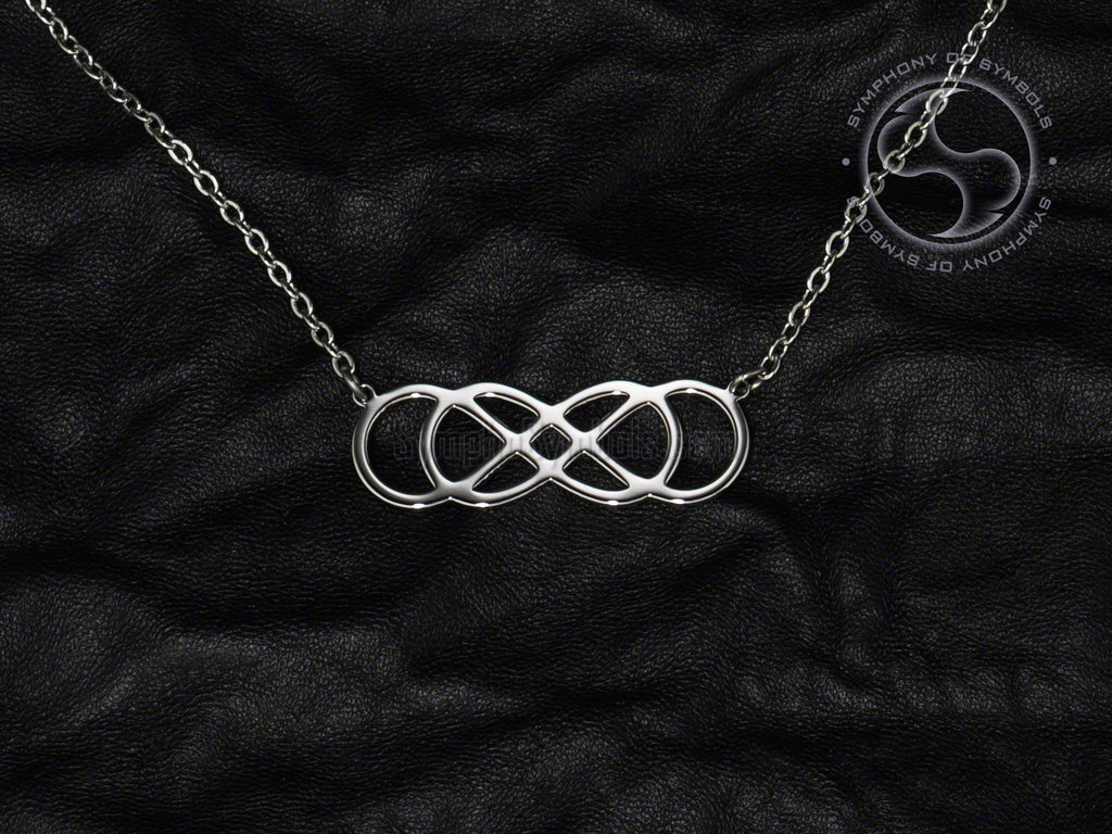 Stainless Steel Necklace with Double Infinity Symbol