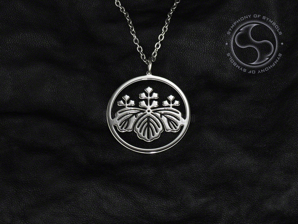 Stainless Steel Necklace with Japanese Toyotomi Clan Kamon Symbol