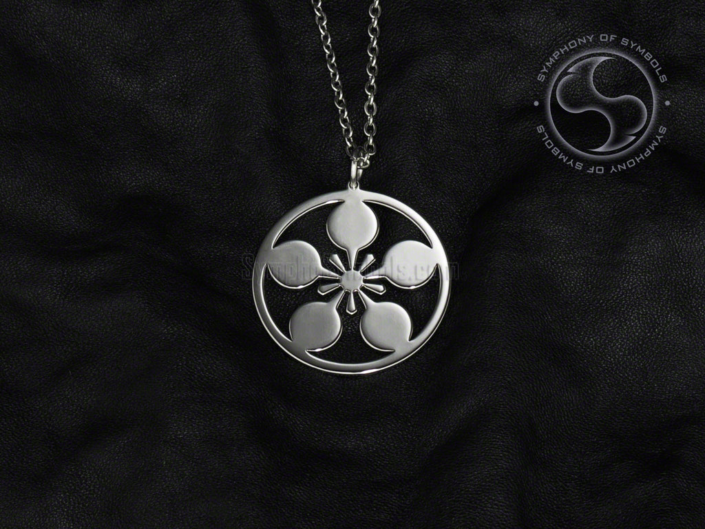 Stainless Steel Necklace with Japanese Maeda Clan Kamon Symbol