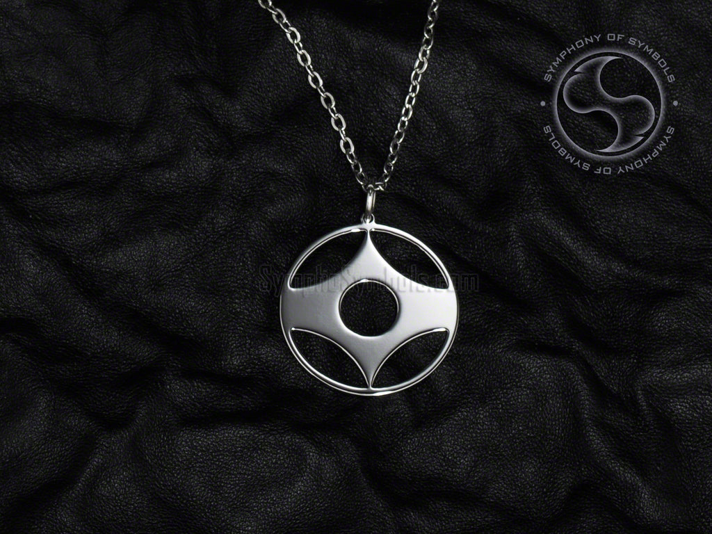 Stainless Steel Necklace with Kyokushin Karate Kanku Symbol