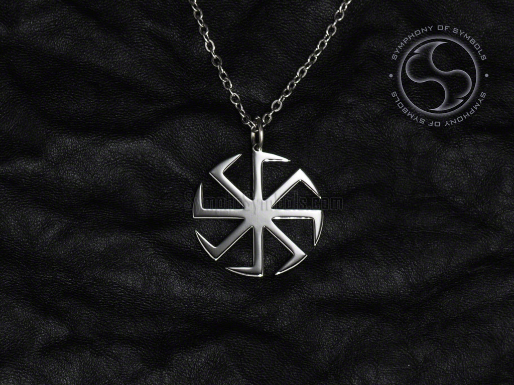Stainless Steel Necklace with Slavic Kolovrat Symbol