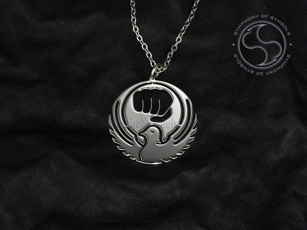 Stainless Steel Necklace with Wado-Ryu Symbol