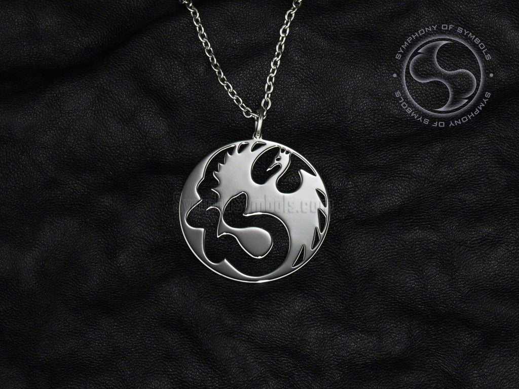 Stainless Steel Necklace with Wushu Wing Chun Symbol