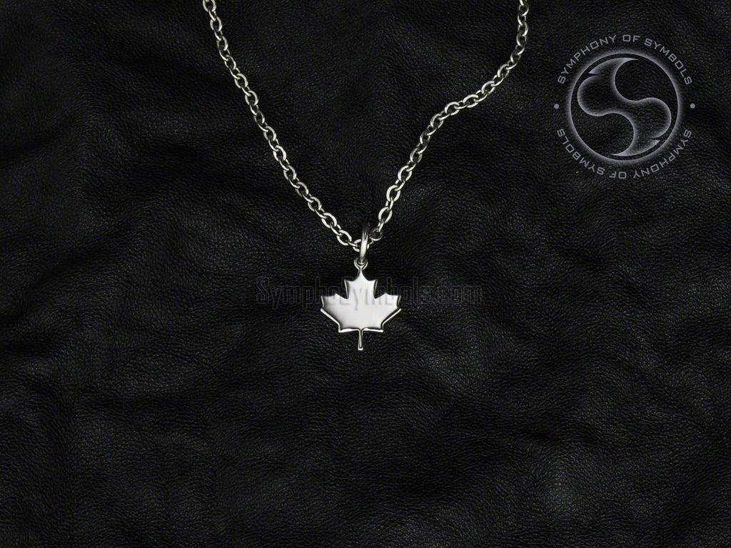 Stainless Steel Necklace with Canadian Maple Leaf Symbol
