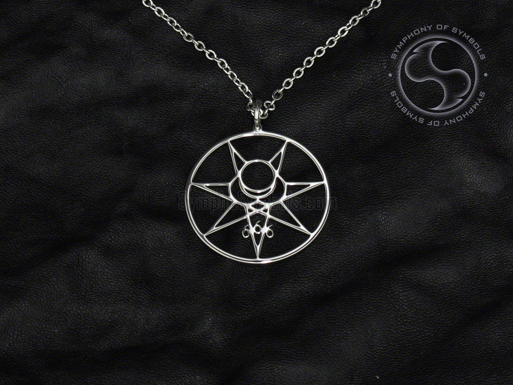 Stainless Steel Necklace with Satanic Mark of the Beast Symbol