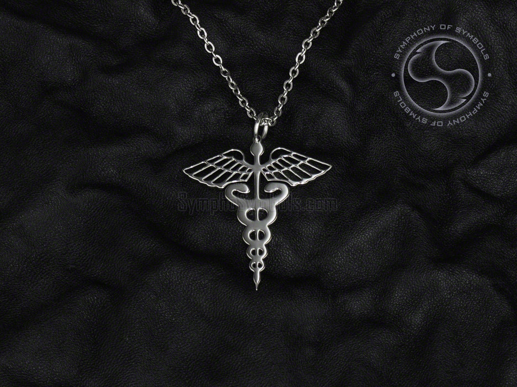 Stainless Steel Necklace with Medical Caduceus Symbol