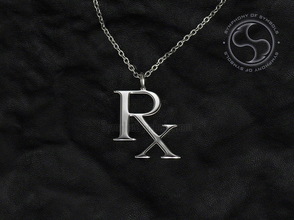 Stainless Steel Necklace with Medical Prescription Symbol