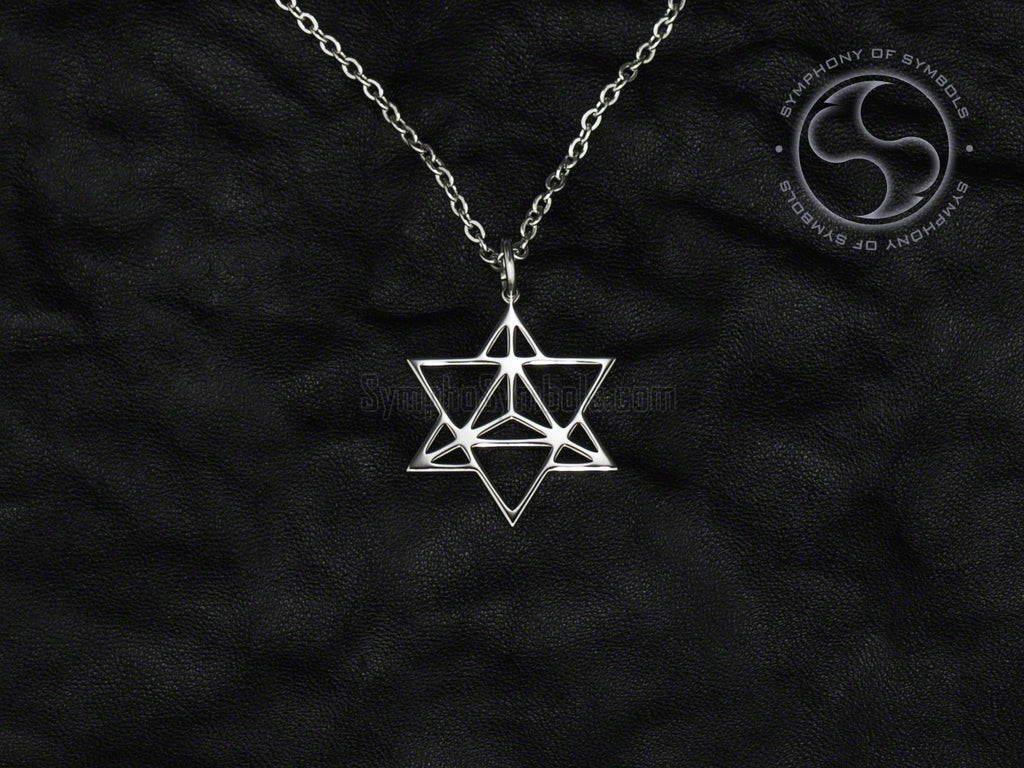 Stainless Steel Necklace with Esoteric Merkaba Symbol