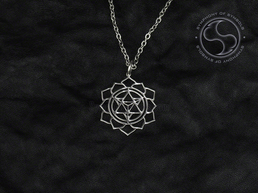 Lotus with Merkaba Symbol Necklace Stainless Steel Esoteric Jewelry