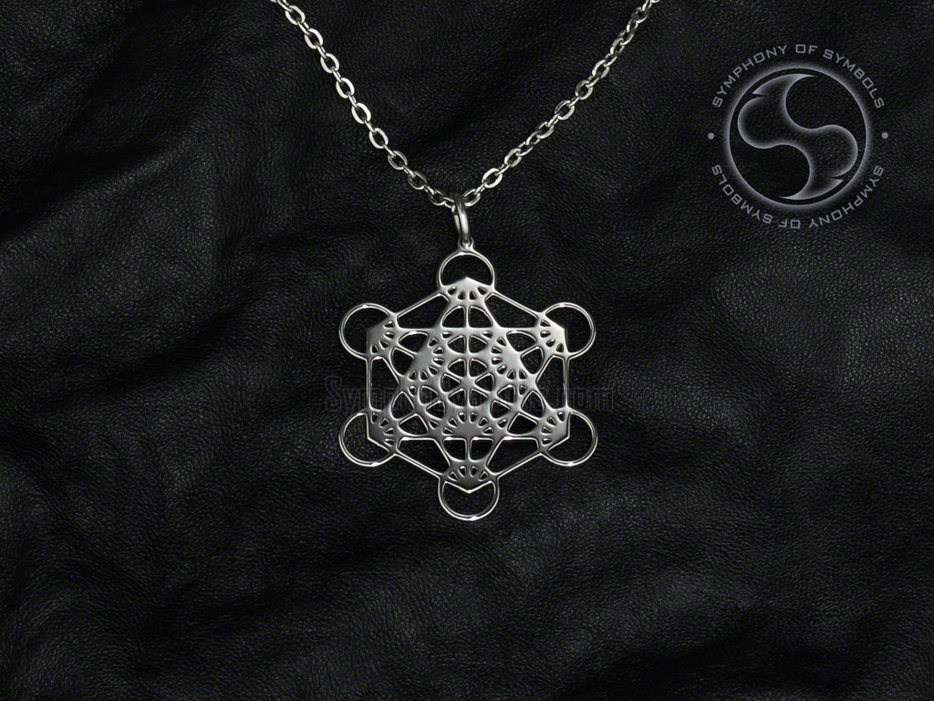 Stainless Steel Necklace with Esoteric Metatron's Cube Symbol