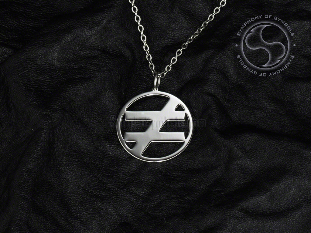 Stainless Steel Necklace with Maths Not Equal Symbol