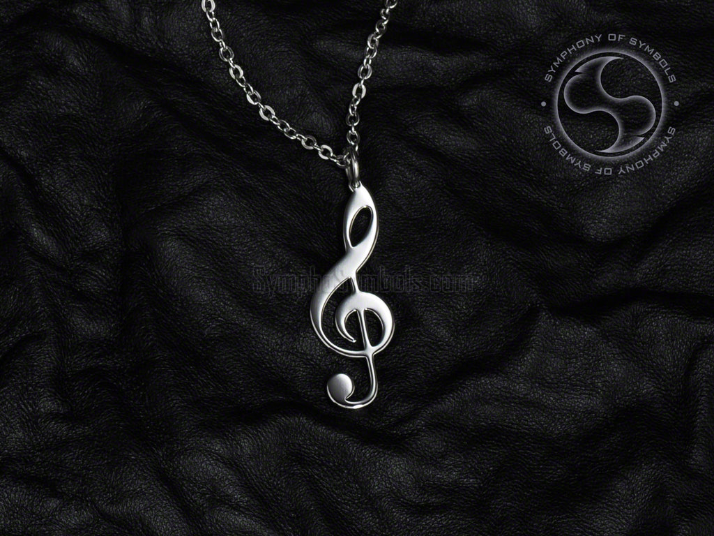 Stainless Steel Necklace with Musical Treble Clef Symbol