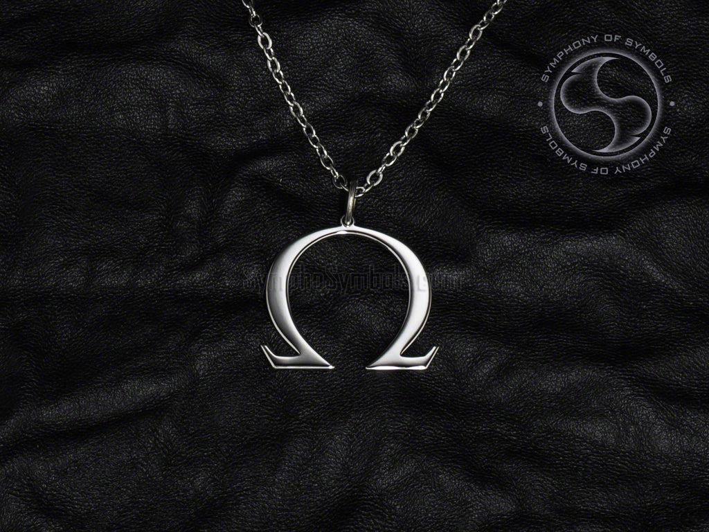 Stainless Steel Necklace with Greek Omega Symbol