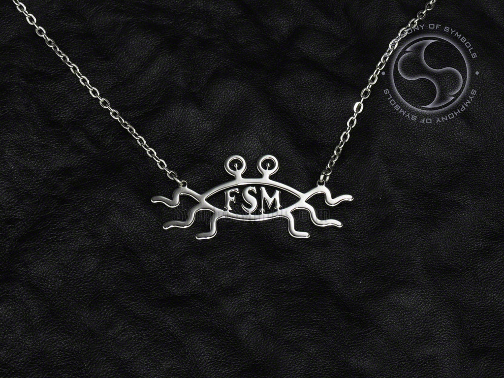 Stainless Steel Necklace with Pastafarian Flying Spaghetti Monster Symbol