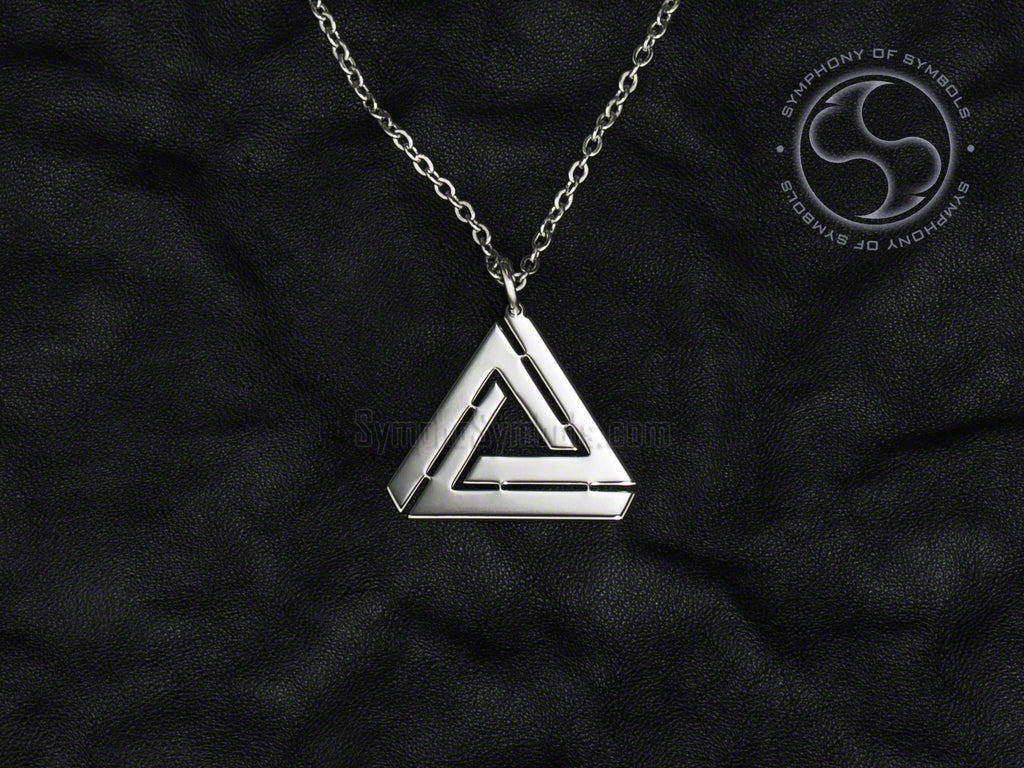 Stainless Steel Necklace with Penrose Triangle Symbol