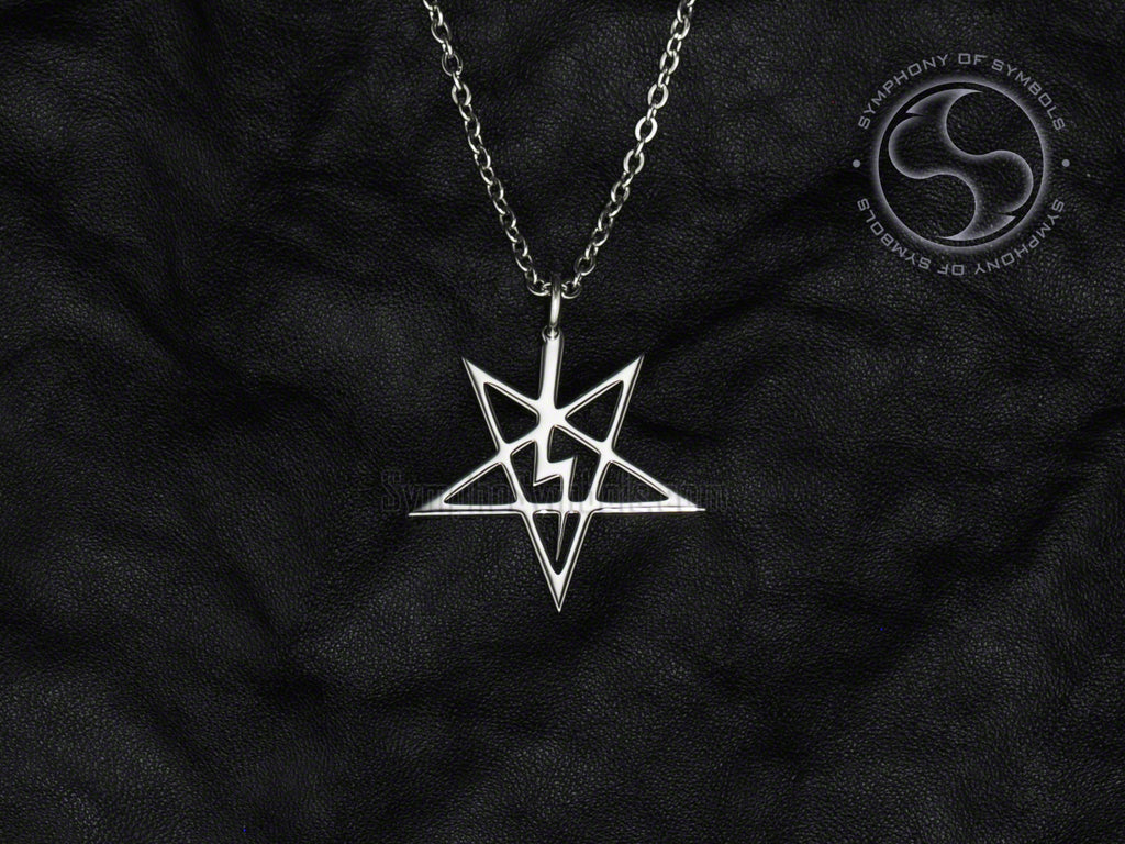 Stainless Steel Necklace with Satanic Lightning Bolt Pentagram Symbol