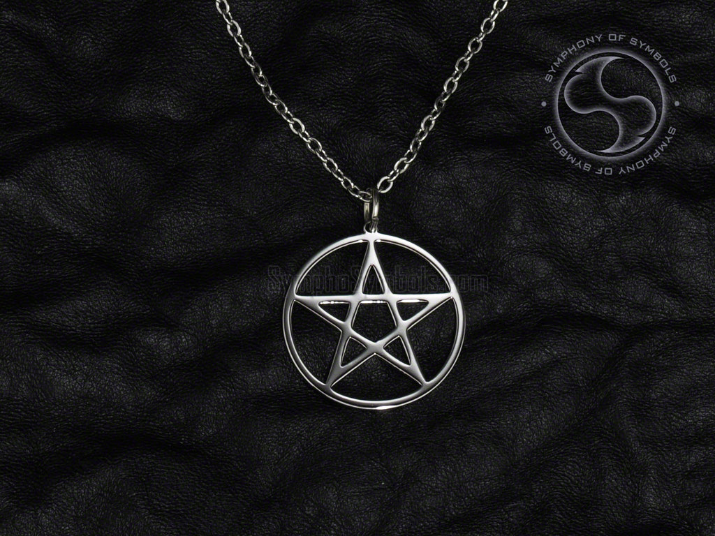 Stainless Steel Necklace with Wiccan Upright Pentagram Symbol