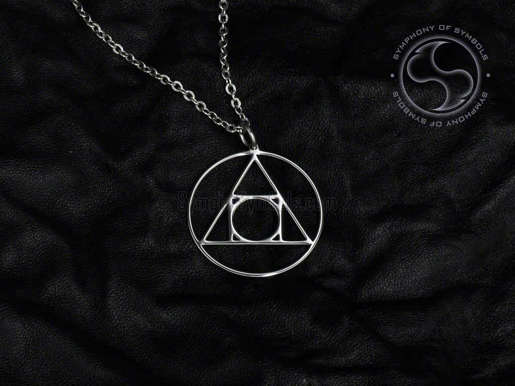 Stainless Steel Necklace with Alchemy Philosopher's Stone Symbol